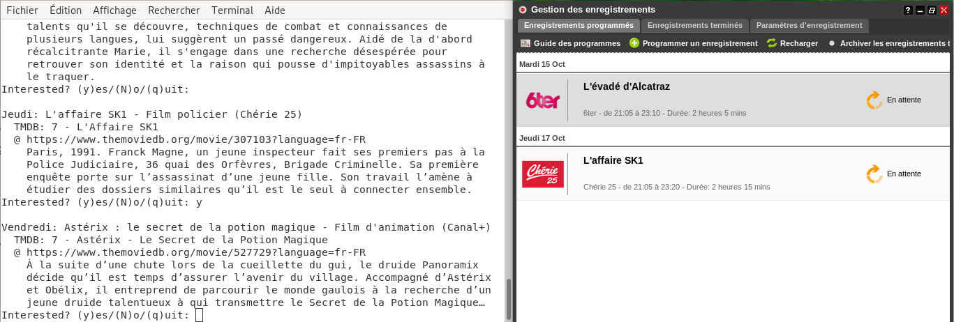 FreeboxMoviePlanner en action